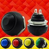 Mini 12 mm a prueba de agua lockless botón pulsador momentáneo interruptor ON / OFF color al azar 5pcs