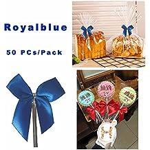 50 Piezas Lazos Decorativos nudo de mariposa Alambre Metálico para Bolsas de Dulces Galleta, caramelo, pan, chocolate, jalea, bolsa de embalaje para la hornada - Azul