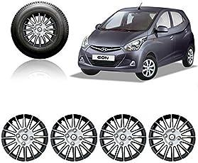Autorepute Premium Quality Car Full Wheel Cover Caps Silver And Black 12 Inches Press Type Fitting For - Hyundai Eon Era