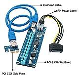 Jsdoin PCI-E Riser 1x bis 16x Powered PCI E Riser Adapter Karte 60cm USB 3.0 Stromkabel SATA 15 Pin-6Pin Power Adapter Kabel