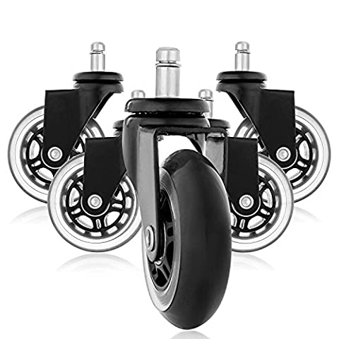 Rollerblade Style Rubber Replacement Wheels, Office Chair Caster Wheels for Your Desk Chair, Quiet Rolling Casters Perfect for Hardwood Floors, Carpet, Laminate and Tile - Set of 5