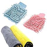 ToullGo Auto Microfiber Cleaning Cloths,Microfibre Noodle Wash Mitt,Fiber Cloth,Double Layer Microfiber Cloths Cleaning Cloth Super Absorbent Cloth Cleaning Cloth Double Suction Cloth, Polishing