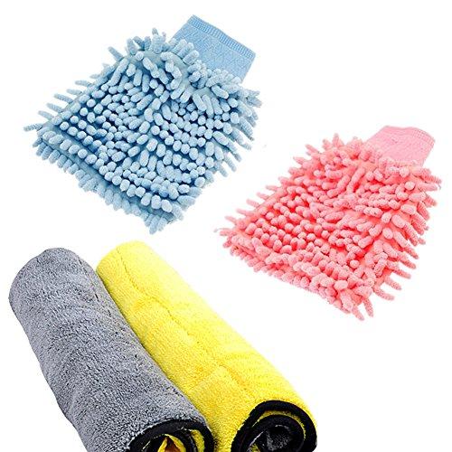 Auto Mikrofaser-Reinigungstücher,Mikrofaser Autowaschhandschuh,Fiber Tuch,Reinigungstuch,Doppelschicht super saugfähigen Doppelschicht Autopflege Mikrofaser Tuch