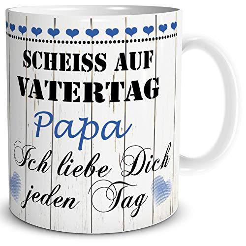 TRIOSK Tasse Scheiß auf Vatertag mit Spruch Papa Ich Liebe Dich Geschenk für den liebsten Vater zum Geburtstag