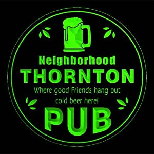4x ccpg2263-g THORNTON Neighborhood Pub Bar Beer 3D Drink Coasters