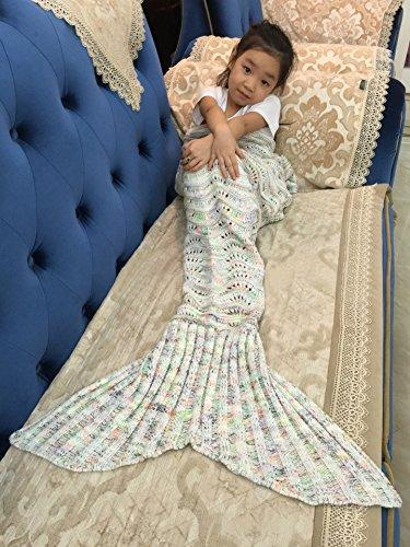 Von Hand gefertigte, gehäkelte Meerjungfrauenflossen-Decke für Erwachsene und Kinder von Elite99, für Sofa, Wohnzimmer, Baumwolle / Baumwollmischgewebe, Wave-Beige, 140CMx70CM