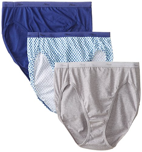 Hanes Women's Cotton Hi-Cut Panty (Pack of 3) - Hi Leg Brief
