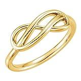 JewelryWeb Anillo Doble Infinito de Oro Amarillo de 14 Quilates, Talla M 1/2