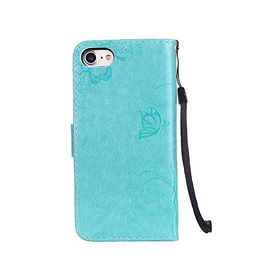 Cover per iPhone 8 / iPhone 7, Vectady Cover Custodia in Pelle a Libro Portafoglio Wallet Magnetica Flip Cuoio Leather Case Protettiva Antiurto Caso con Porta Carte Funzione Cinturino da Polso Disegni Verde Colore