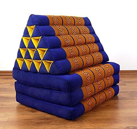 Jumbo Dreieckskissen XXL der Marke Livasia®, Thaikissen aus Thailand, Liegematte asiatisch bzw. Thaikissen (Thaimatte) mit Triangelkissen als Nackenstütze (blau / gelb)
