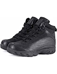 Hombres Lace Up Athletic Zapatos Al aire libre Selva Desert Low Rise botas de calidad militar de cuero transpirable Botas ( Color : Black )