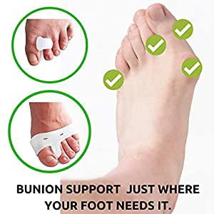 Foot Experts Bunion Hammer Toe Spacer 4 PC KIT - Big Toe Corrector Gel Pad Sleeves - Premium Gel Toe Spacers. One Size Fits All - Men & Women - Pain Reliever for Toe Pain in Shoes