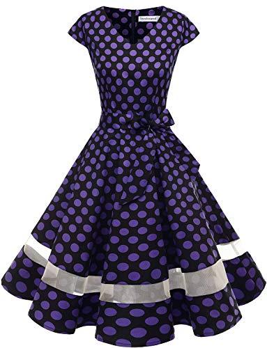 Gardenwed 1950er Vintage Retro Cocktailkleid Cap Sleeves Rockabilly Kleider Damen Schwingen Petticoat Faltenrock Black Purple Dot XL