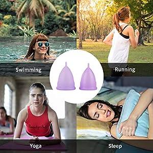 Menstruationstasse (1x Große & 1x Klein) – Kostenlose Faltbar Tragbare Reinigungsbecher medizinischem Silikon BPA Frei Zwei Menstruationstassen für starke und schwache Blutung inkl. Tasche