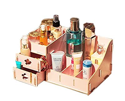 BXT Exquisite Wooden Cosmetic Box Makeup Organizer Nail Polish Jewellery Storage Box Display Stand Dressing Table Tidy with 2 Drawers produced by BXT - quick delivery from UK.