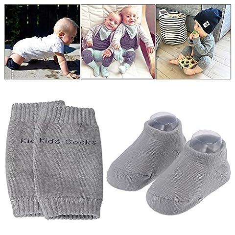 Pchero Unisexe bébé nouveau-né Infant mince antidérapant mignon Chaussettes + tout-petit bébé Genouillères rampants de sécurité Protector–0à 24mois