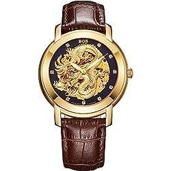 Angela Bos Men's Hollowed Chinese Dragon Fashion Mechanical Waterproof Wrist Watch Black Dial Brown Calfskin Band