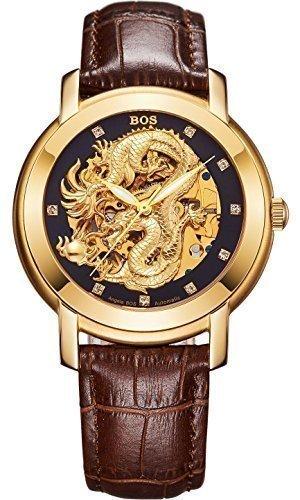 Angela Bos - Reloj mecánico para hombres, diseño de dragón chino, resistente al agua, correa de piel