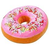 Gefülltes Kissen im Donut-Design, Plüsch, als Spielzeug-Puppe, Lehne für die Familie, Bürostuhl, Auto-Sitz geeignet, 40,6x 40,6cm rose