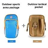 chinatmax brazalete deportivo bolsa + estuches de táctica cintura Pack, resistencia al agua utilidad Gadget bolsillos teléfono celular titular bolsa para hacer senderismo, Camping, Running para hombres, mujeres, Blue+Khaki