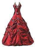 Zorayi Damen Lang Neckholder Taft Formellen Abendkleid Partykleid Prom Ballkleider Rot Größe 50