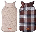 Morezi Cozy Waterproof Windproof Reversible British style Plaid Dog Vest Winter Coat Warm Dog Apparel for Cold Weather Dog Jacket for Double sided available - XS - Brown