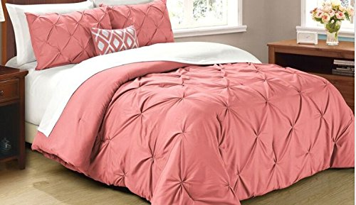 Cathay Home Oasis Pintuck Tröster Set, Full/Queen, Coral