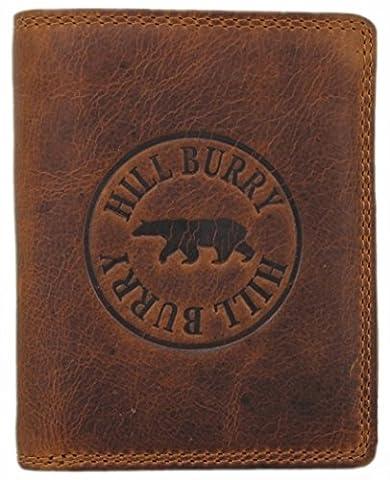 Hill Burry Herren Echt-Leder Geldbörse Portemonnaie Brieftasche Portmonee Geldbeutel Kredit-Kartenetui Wallet Vintage Organizer Reisebrieftasche aus hochwertigem Leder Hochformat braun 6401Sb