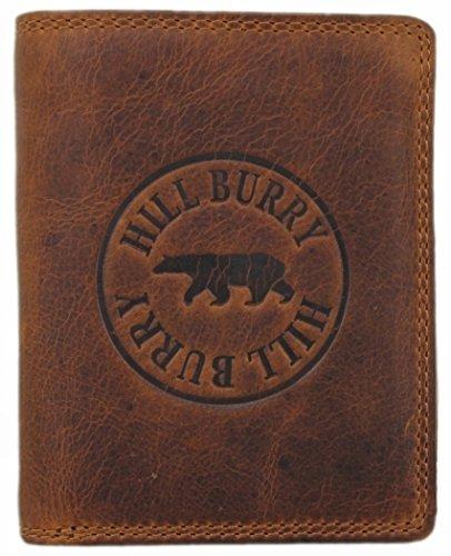 Geldbörse Herren Leder Portemonnaie Brieftasche Portmonee Geldbeutel Kreditkartenetui Wallet Vintage Organizer Reisebrieftasche aus hochwertigem Echt-Leder Hill Burry Hochformat braun 6401S (Bi-fold Leder Wallet Herren)