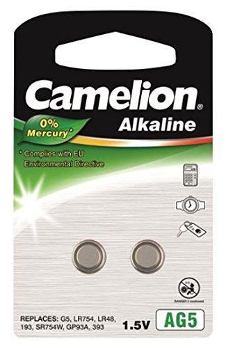Camelion Premium Alkaline Uhrenbatterie AG5/LR754/393 2er-Blister