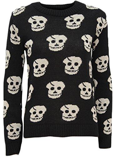 Nouveau dames Skull Head Imprimer tricot usure Sweat Shirt Tops des cavaliers 36-42 Black