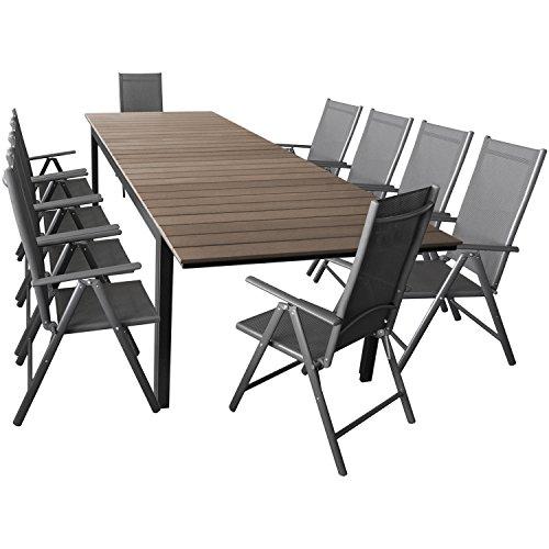Wohaga Elegante Sitzgarnitur 11-teilig Sitzgruppe Gartengarnitur Gartenmöbel Terrassenmöbel Set Aluminium Polywood Ausziehtisch 280/220x95cm + 10x Hochlehner 2×2