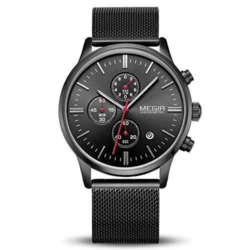 Uhren Herren Mode Chronographen Analoger Quarz Edelstahl Wasserdich Schwarze Quartz Mesh Armband Geschäft Casual Datum Uhr