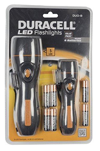 Duracell Taschenlampen-Set, Schwarz, 32.5 x 6.0 x 19.5 cm, Inkl. 6 AAA-Batterien