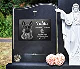 Gedenktafel mit Foto Grabstein Gedenkstein mit Gravur ( NEU !! auch mit Motiven ) ca. 30 x 20 cm für Tiere / Hund Katze Pferd mit Foto- und Textgravur – kein Druck schönes Andenken an die Liebsten /schöne Grabplatte - 9