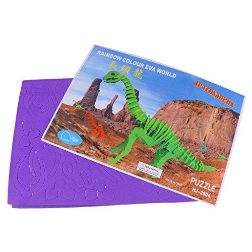 Juguete Rompecabezas Modelo de Esqueleto 3D Dinosaurio Simulación Espuma Niños - Púrpura