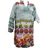 Boho Chic Womens Tunic Soft Georgette Printed Gray Red Blouse Top xlarge