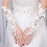 Spitze Appliques Blumen Weiße Hochzeit Handschuhe mit Perlen Elegante Ellenbogen Lange Brauthandschuhe Fingerlose Mariage Accessoire