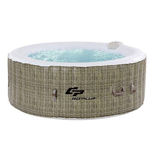 COSTWAY Whirlpool Aufblasbar, Massage Spa Pool √Heizfunktion √4 Personen √In-Outdoor √Komplettset √Ø180cm √rund (Braun)