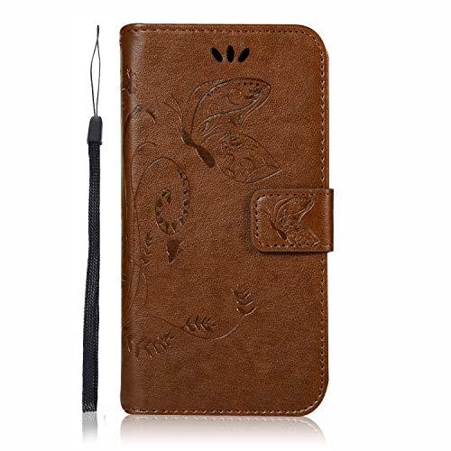 Carols Coque Samsung Galaxy A6 Plus 2018, Motif de Fleurs de Papillon en Relief Motif Etui Housse Cuir PU Portefeuille Flip Case Cover - Brown 01