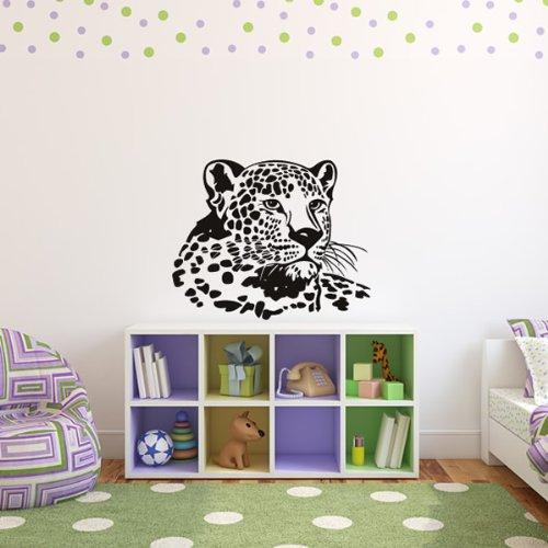 Testa ritratto di Leopard e viti selvatiche Animali Wall Stickers Home Art Stickers disponibile in 5 dimensioni e 25 colori Extra Grande Verde foglia
