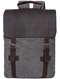 Preisvergleich für Vintage Rucksäcke Herren Damen Leder Canvas Rucksack Retro Schulrucksack Schultasche