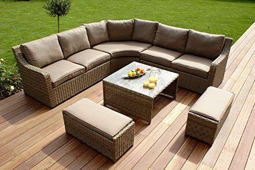 milan extra large rattan corner sofa with footstools and. Black Bedroom Furniture Sets. Home Design Ideas