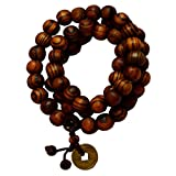 Men Style 8mm Brown Wood Bead Buddha Bud...