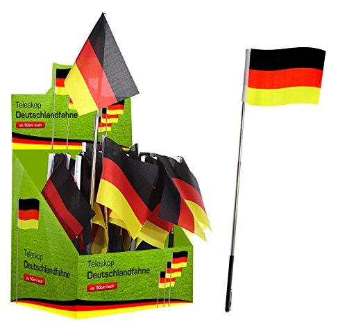 Preis am Stiel 1 x Teleskop Deutschlandfahne | Fahnen und Flaggen | Geschenk für Männer | Fahne...