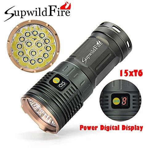 SOMESUN 3 modes Tactique Lampe de poche Zoomable Lumière forte Lampe à main Torche 50000 lumens 15 x XML T6 LED Affichage Mumérique Tactique Chasse Lampe de poche (Or)