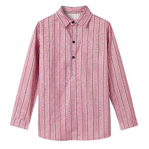 DNOQN Sport Poloshirt Herren Herren Mode Bambus Baumwolle Langarm Revers Gestreiftes Hemd Beiläufig Top Blusen XXL (Bambus Marke Wohnungen)