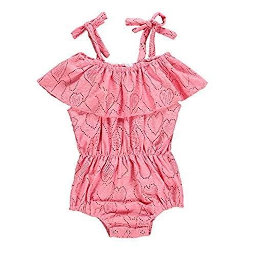 TTLOVE Sommer Baby Strampler MäDchen Schlafanzug äRmellose Kleiden RüSche Spitze Kind HöHlen Overalls SäUgling Heraus Body Clothes Romper Outfits Jumpsuits Kleinkind Bodysuit (Rosa,90)