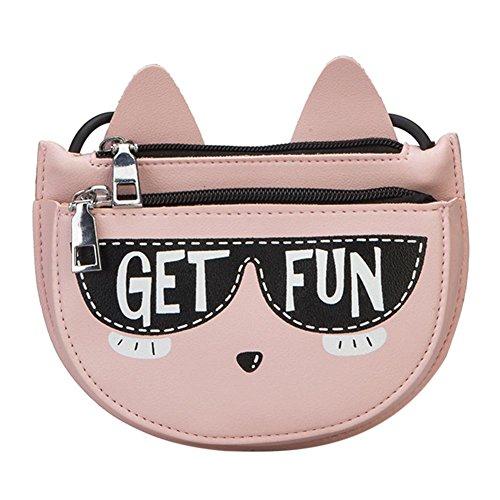 Everpert Niedlichen Cartoon Katze Mini Kinder PU Leder Messenger Bags Baby Mädchen Schulter Crossbody Reißverschluss Kinder Geldbörse -
