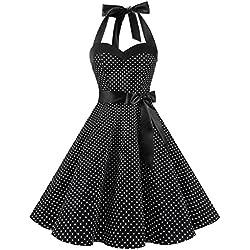 Dresstells® Halter 50s Rockabilly Polka Dots Audrey Dress Retro Cocktail Dress Black Small White Dot L